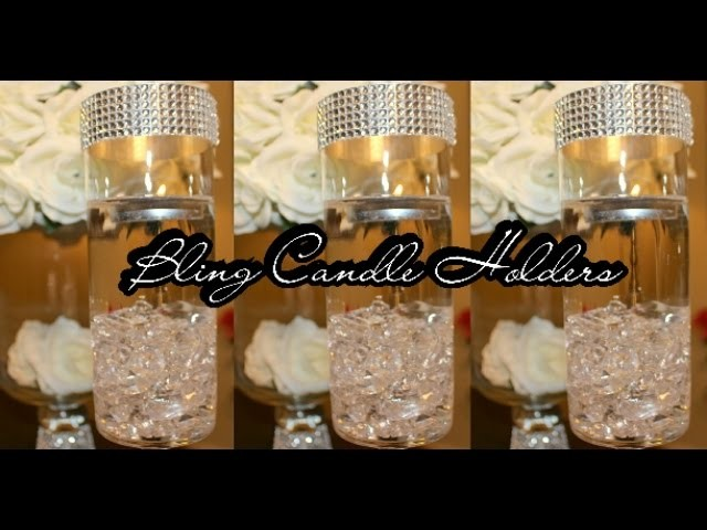 Diy candle holder centerpiece set of bling wedding