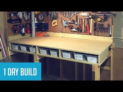 Easy DIY $35 Wall-Mounted Workbench w. Storage