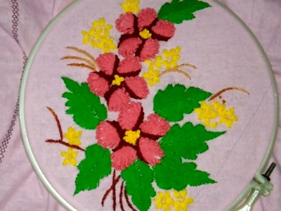 Hand embroidery with easy basic stitches long French knot and herring bone stitch