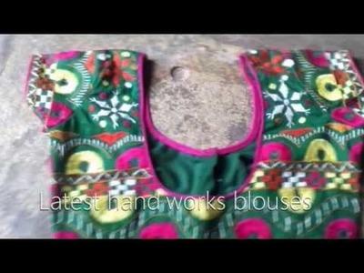 Hand work kutch works maggam works blouse designs-mirror stitching