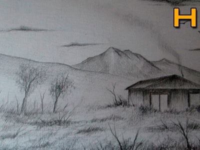 How to Draw a Easy Landscape With Pencil Step by Step - Timelapse