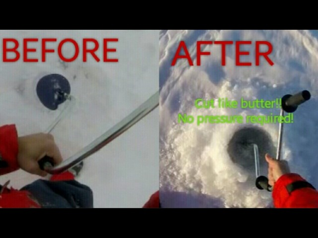 How to sharpen an ICE Auger with SAND PAPER Normark Finbore III 8 inch Manual