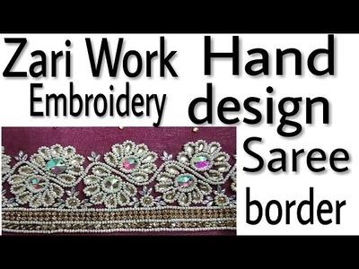 [Zari Work] hand embroidery saree new design