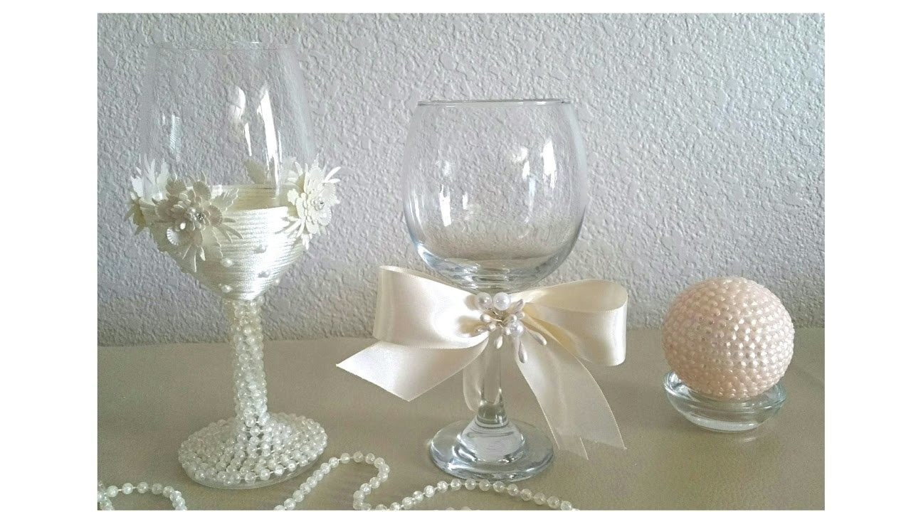 DIY BRIDES CHAMPAGNE GLASSES, AND A VICTORIAN STYLE CANDLE HOLDER. WEDDING DECOR