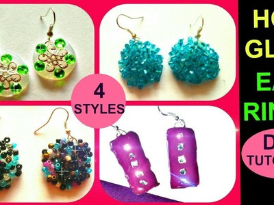 DIY EAR RINGS using HOT GLUE | Tutorial on 4 DIFFERENT STYLES | Easy Jewelry Making | Hot Glue DIY