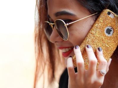 DIY Glitter Mobile Case (Cover)  Under 1$.100 Rs