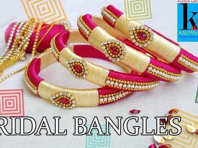 DIY || How to make Designer Bridal bangles at Home || 2 color silk thread bangles