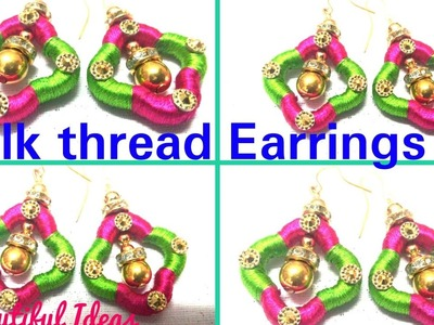 DIY.How to make silk thread Earrings Design at home