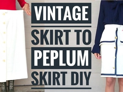 DIY Old Skirt to Sailor-inspired Peplum Skirt