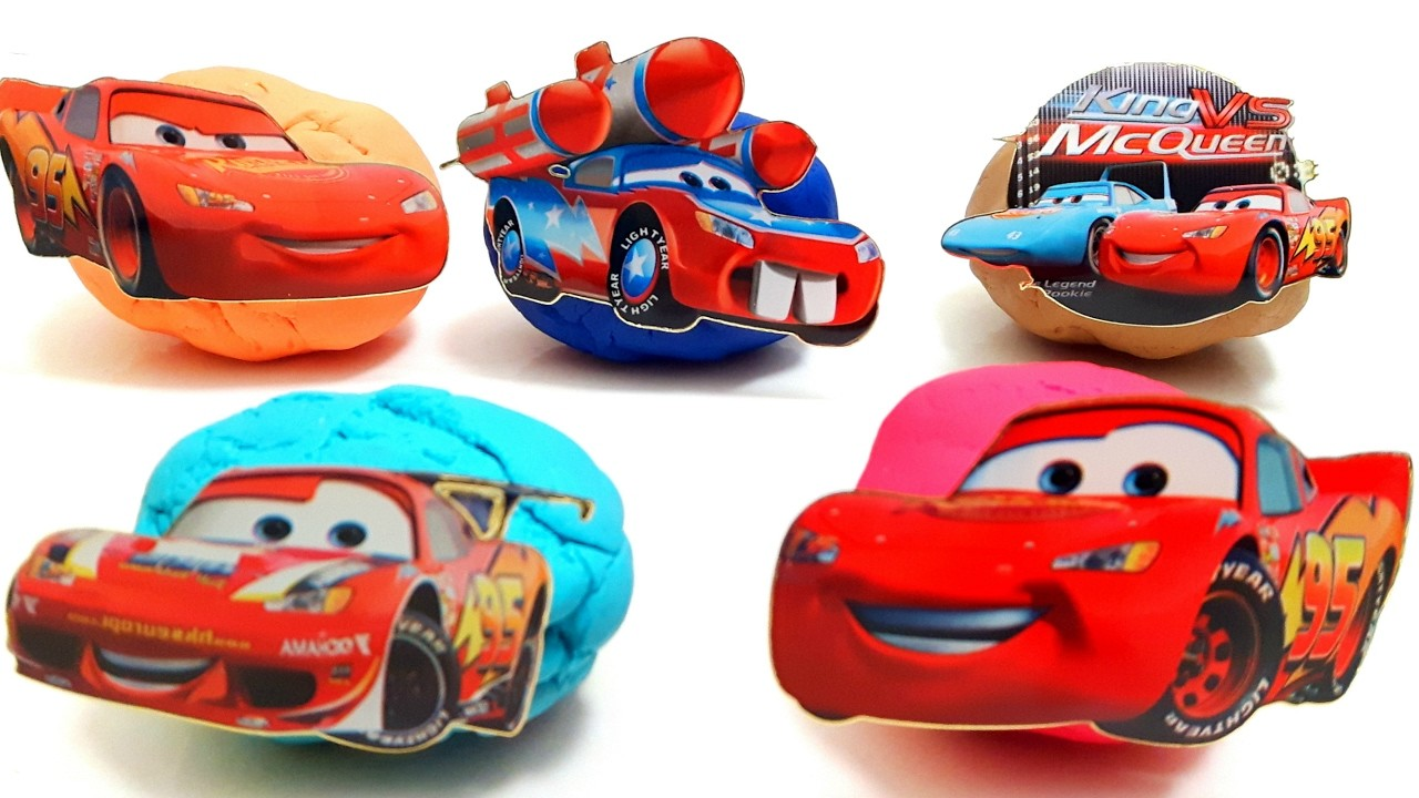 Squishy Ball Play Doh : DIY Play Doh Balls Surprise Ligtning Mcqueen Cupcake Slime Toys Learn Colors with Eggs Nursery