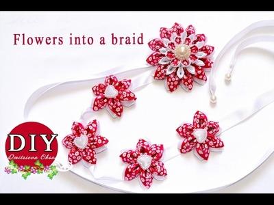 DIY.Satin ribbon with flowers kanzashi.Satin ribbon in a braid.