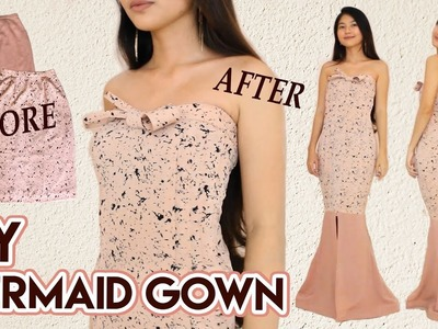 DIY Turn Skirts Into Mermaid Gown | Long Dress for Party. Prom. Wedding | Clothes Transformation