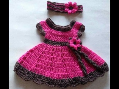"Double Colour Sweater Design in Hindi | Easy Crochet | "" woolen frock for baby girl """