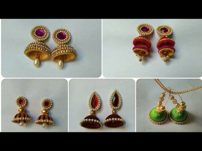 Earrings Collection. Silk Thread Jumkhas. Bridal Earrings. DIY. Home Made Tutorial