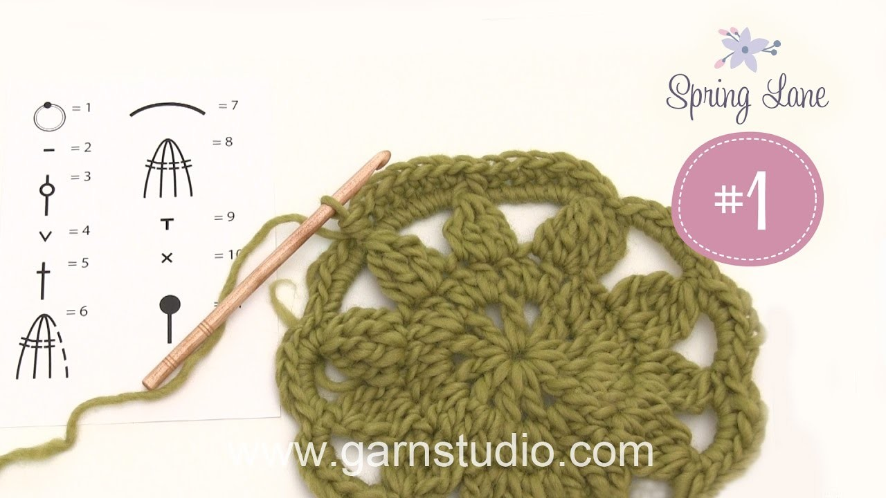 How crochet the different techniques that are used in 1st clue in DROPS blanket Spring Lane