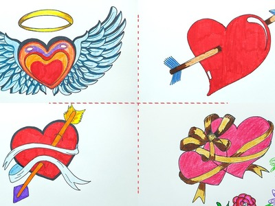 How to Draw Heart with Arrow, Bow, Ribbon, Wings for Valentine Message Cards