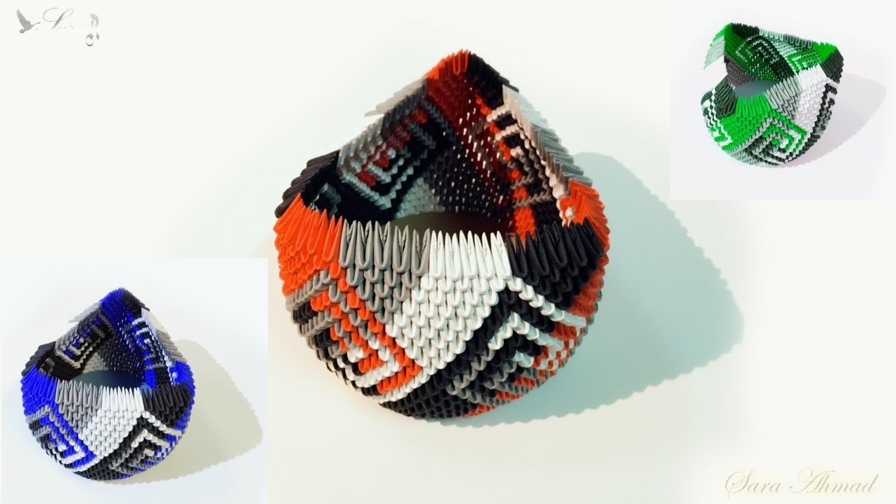 How to make 3d Origami Basket or Box 2