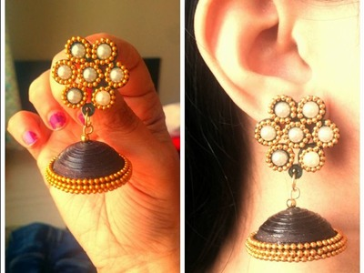 How to Make Designer Party Wear Quilling Jhumka. Tutorial