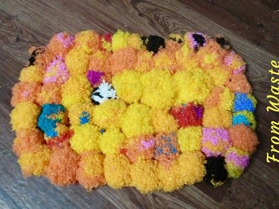 How to make Door Mat from Waste Macrame | Make Best out of Waste | Macrame Carpet