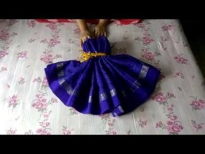 How to make Women Dress using a Saree ,Wedding Tray Decoration