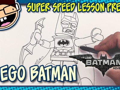 Lesson Preview: How to Draw LEGO BATMAN (The Lego Batman Movie) | Super Speed Time Lapse Art