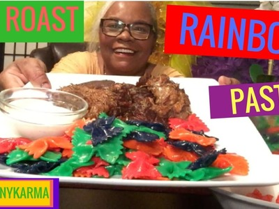MUKBANG| HOW TO MAKE  POT ROAST with COLORFUL  BOWTIE  PASTA (EATING SHOW)