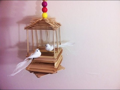 Popsicle stick bird house.Easy fun craft specially for kids.
