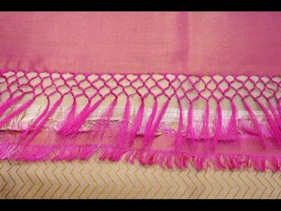 Saree Pallu Knots Design Work - How to Make Saree Kuchu Work