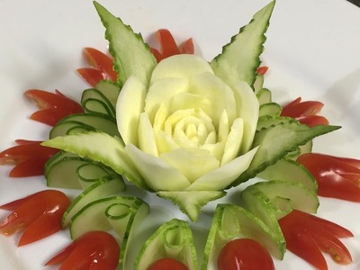 Art In Zucchini Flower Carving Garnish - How To Make Vegetable Carving Designs