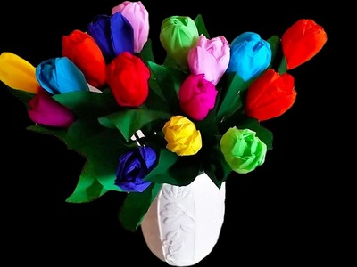 Beautiful Lifelike Crepe Paper Tulips .  D.I.Y made EASY .