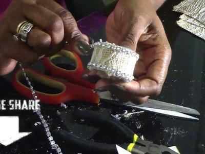 DIY: Antique Burlap Blinged Napkin Rings- SPRING Tablescape