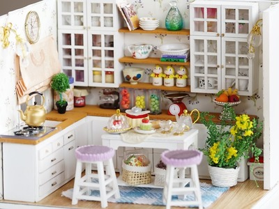 DIY Miniature Dollhouse Kit -  Cute Kitchen with Working Lights