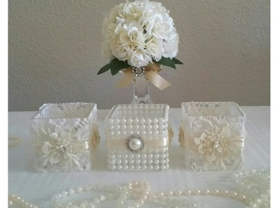DIY VICTORIAN STYLE 5 PIECE CANDLE HOLDER DECOR. WEDDING ALL UNDER $12.00 TO MAKE