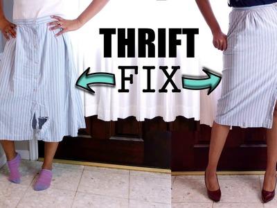 DIY VLOG #4: MIDI SKIRT THRIFT FIX + How to Sew on a Button | BlueprintDIY