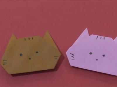 Easy Origami How to make Paper Kitty Cat 简单手工摺紙 小貓 簡単折り紙 ネコちゃんです