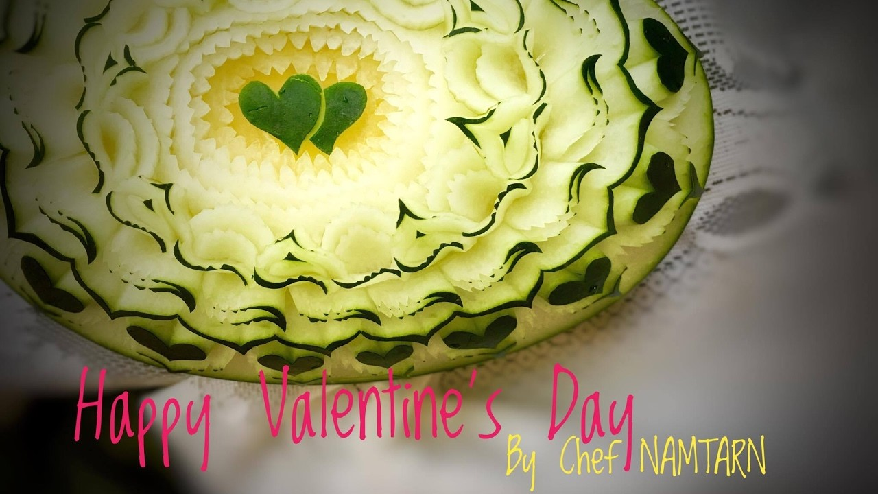 How to carving heart and s design for valentine 2017 by chef namtarn