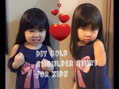 How to cold shoulder shirt for kids or (cutout shoulder shirt)
