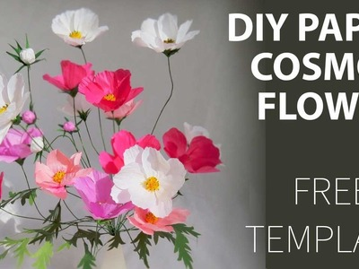 How to DIY paper Cosmos flower, FREE template????