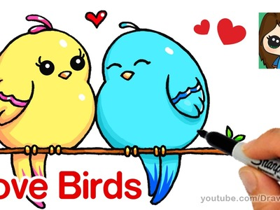 How to Draw Cartoon Love Birds Easy