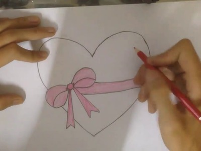 How to Draw Color a Heart with a Bow Ribbon Emoji