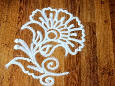 How to draw flower in Rangoli using funnel
