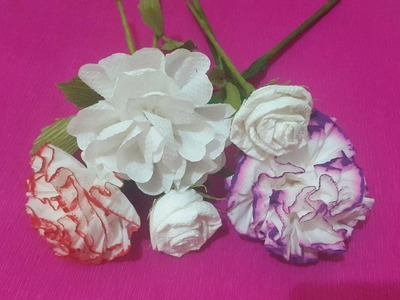 How to Make 3 Rose Tissue Paper Flowers - Flower Making of Tissue Paper - Paper Flower Tutorial