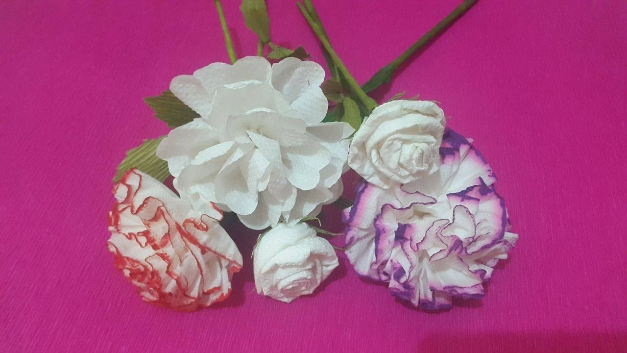 How To Make 3 Rose Tissue Paper Flowers Flower Making Of Tissue