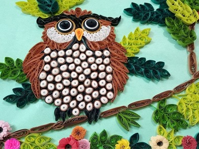 How To Make Beautiful Owl Sitting On Tree | Wall Decorations | Paper Quilling Art