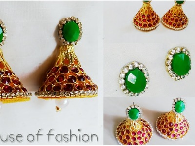 How To Make Bridal Cone Shape Silk Thread Jumka Using Rhine Stones.