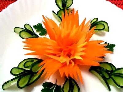 HOW TO MAKE CARROT FLOWER - CUCUMBER DESIGN LEAF & VEGETABLE CARVING - ART IN CARROT GARNISH