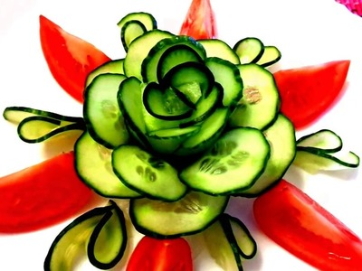 HOW TO MAKE CUCUMBER ROSE FLOWER DESIGN  - CARROT GARNISH & VEGETABLE CARVING - TOMATO CUTTING