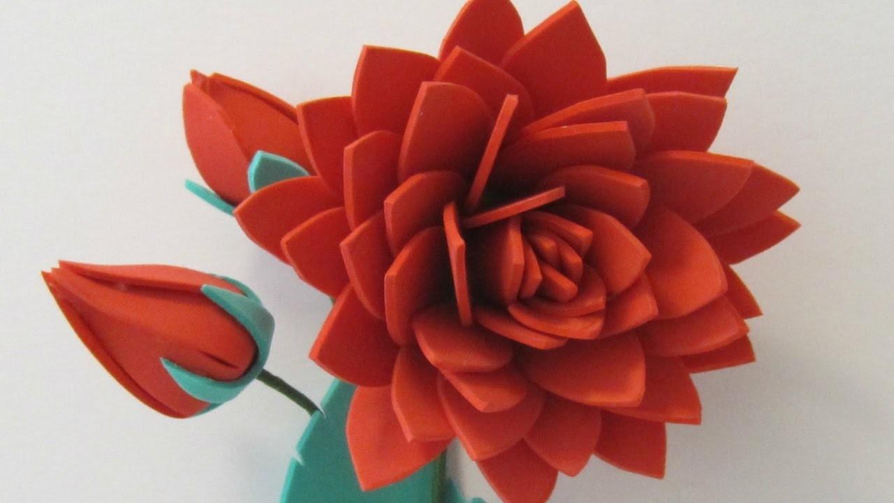 HOW TO MAKE DAHLIA FLOWER USING FOAM PAPER