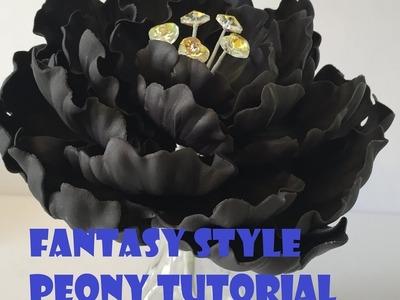How to make Fantasy Gum paste Peony with Swarovski Crystal