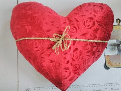 How to make heart shape cushion    How to stitch pillow cover